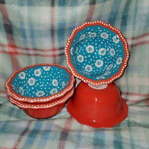 Pioneer Woman Melamine Daisy Ditsy Set Of 4 Dip Fruit Bowls Orange Teal