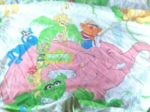 Vintage Sesame Street Jungle Zoo Pink Elephant Twin Fitted Sheet S2
