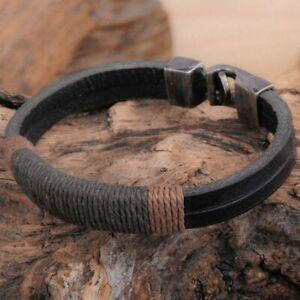 New Surfer Men's Retro Punk Hemp Wrap Leather Wristband Bracelet Cuff Jewelry