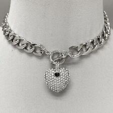 Silver Tone Cuban Link Chain Clear Rhinestones Heart Pendant Choker Necklace