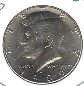 1986-D Denver Uncirculated Copper-Nickel Clad Copper Strike Half Dollar Coin!