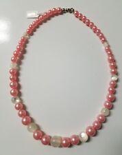 Pink White Imitation Cat Eye Acrylic Beads Beaded Necklace