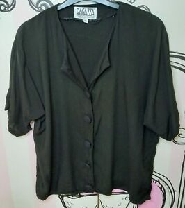 Size 14-16 Ragazza Black Big Canvas Covered Buttons Hip Length Shirt Blouse