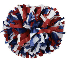 """6"""" Cheer Poms Red White Blue Baton Handle Tri Color Sold Individually New"""