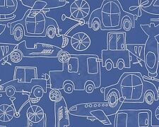 BLUE TRANSPORT CARS PLANES CHILDRENS BOYS FEATURE WALLPAPER A.S CREATION 30449-1