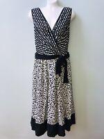 INC Women's Black Ivory V-Neck Fit & Flare wrap Dress Size 10