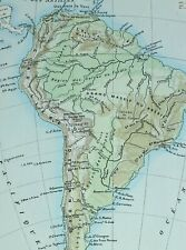 1905 Map South America Brazil Patagonia Andes Land Heights Pampas Bolivia