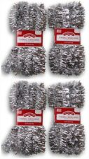 Lot of 4 Holiday Time Silver Tinsel Garland 15 ft Each