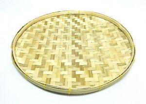 "1/3/6 PCS 11"" Round Bamboo Serving Display Winnowing Basket Tray Thai Decor"