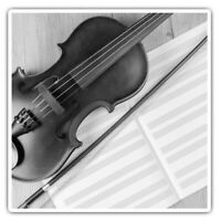 2 x Square Stickers 10 cm - Classical Violin Music Cool  #38593