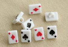 Lot of 10 POKER PLAYING CARD DESIGN Plastic Shank Buttons 10mm x 8mm (708)