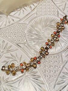 Givenchy French Couture Bracelet Statement Crystal Gold Coral Cabochon