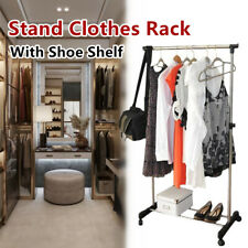 Portable Clothes Rack Metal Garment Display Hanger Dryer Stand With Shoe Shelf