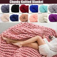 Wool Chunky Knitted Thick Blankets Yarn Bulky Arm Knit Throw Bed Sofa Mat Xmas