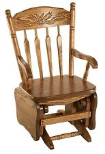 Amish Handcrafted Kids Child Toddler Glider Chair Country Oak Wheat Detail