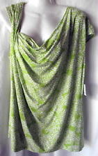 Liz Claiborne Top XL Womens Green White Floral Sleeveless Rayon/Spandex NEW NWT