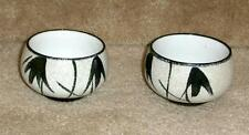 tea cups Asian style, gloss black on textured white, set of 2