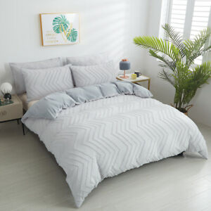 Wave Zig Zag Silver Grey Bedding Set Duvet Cover Quilt Cover Pillowcase Twin New