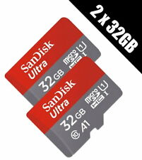 2 x SanDisk 32 GB Ultra A1 Micro SDHC Card with SD Adapter  98MBs (SDSQUAR-032G-