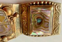 VINTAGE STERLING SILVER HINGED BRACELET WITH ABALONE SHELL TAXCO, MEXICO