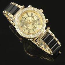 Luxus Damenuhr Schwarz Gold, Strass Kristallen Armbanduhr Watch U1236S