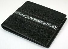 GENUINE ROW PEARL STINGRAY SKIN LEATHER MENS WALLET NEW BLACK REAL BIFOLD