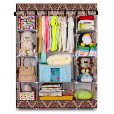 New 4-Layer Portable Closet Storage Organizer Wardrobe Clothes Rack With Shelves