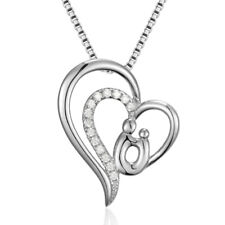 """Sterling Silver 925 Mothers Day Gift Heart Lady Pendant Women 18"""" Necklace Chain"""