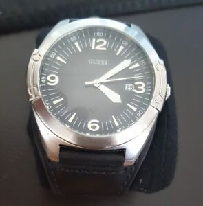 Guess Black Strap Mens Watch Genuine Leather Strap