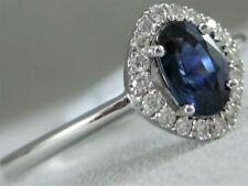 Modern Pflastern Diamant Saphir 18K Weiß Gold Oval Halo Cocktail Ring 9M