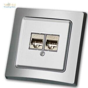 Delphi Flush 2-fach Network Box 2xCAT6 300MHz Gigabit Lan up - Frame Silver