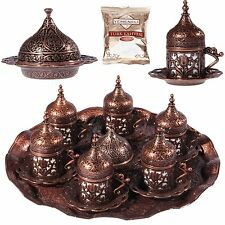 Turkish Greek Arabic Coffee  Serving Cup Saucer Gift Set (COPPER)