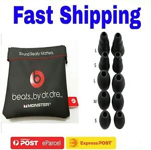New Pouch + 1 Sets Black Silicon Earbuds For Beats Dr.Dre Monster Urbeat*