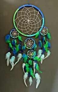 LARGE BLUE AND GREEN TURQUOISE DREAM CATCHER 21 x 45cm GIRLS BOYS DREAMCATCHER
