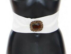 DOLCE & GABBANA Belt White Crystal Brass Wide Waist Runway IT46/US12/XL RRP $900