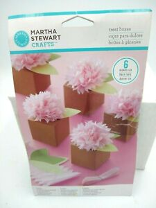 6 Martha Stewart Gift Treat Boxes Set, Pom Pom Flower Pink Floral Wire NOS