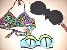 Womens Juniors Designer Bikini TOP Lot Medium M Push up bandeau wrap cutout neon