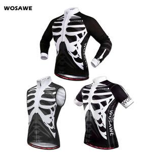 Mens Cycling Jersey MTB Mountain Bike Rides Shirts Pro Team Bicycle Skeleton Top
