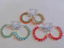 Ohrringe große runde aus bunten farbigem Silikon weiche Spitzen 4857