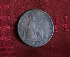 1862 Great Britain 1/2 Penny Half Bronze World Coin Britania Seated UK England