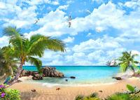 Tropical Beach Seaview Wallpaper Mural Photo Print Home Wall Decor Pre-pasted