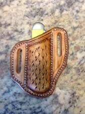 SNAKE SKIN TOOLED PANCAKE STYLE TRAPER KNIFE SHEATHS