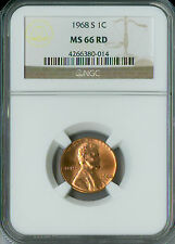 1968-S LINCOLN CENT NGC MS 66 RED 2ND FINEST GRADE .