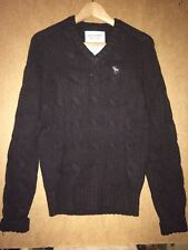 NWT Abercrombie & Fitch Men's V-neck Cable knit Sweater Brown