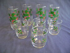 Christmas Holiday Tumblers Indiana Glass 4 Coolers 16 oz & 4 Rock Old Fashioned