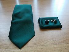 Cravate en soie vert foncé à fines côtes NEUVE + boutons de manchette + pochette
