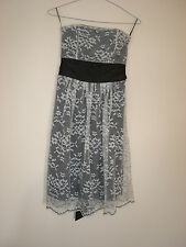 MISS SHOP BLACK WITH WHITE LACE DRESS STRAPLESS SIZE 8