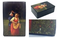 Hand painted SOVIET FEDOSKINO Palekh lacquer box 1920's russian art rare Russian