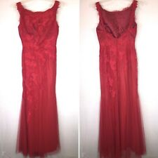 Pronovias Rabi Evening Gown Dress Red Tulle Sz 8 Mermaid Prom Formal MSRP $945