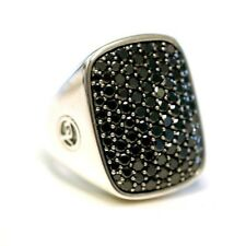 DAVID YURMAN NEW Mens Sterling Silver Albion Pave Black Diamond Ring Silver 9.75